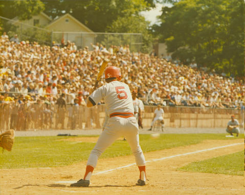 Second baseman Denny Doyle bats for the Boston Red Sox during the 1975 Hall of Fame Game. (National Baseball Hall of Fame and Museum)