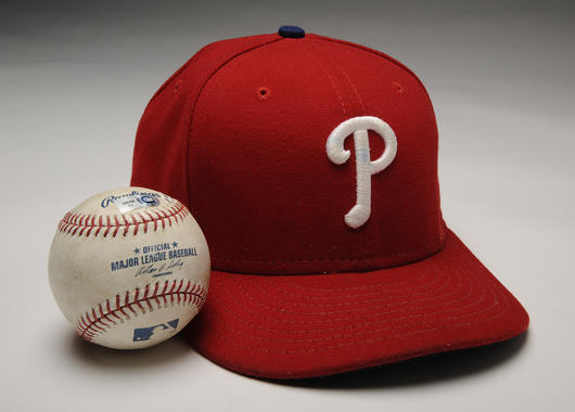 In 2010, Roy Halladay donated his cap and ball from his May 29 perfect game against the Marlins. (By Photographer Milo Stewart Jr./National Baseball Hall of Fame and Museum)