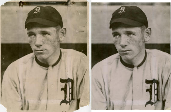 Before and After: A stabilized Charles Conlon photograph of Hall of Famer Harry Heilmann. BL-1496-68WT (Charles M. Conlon / National Baseball Hall of Fame Library)