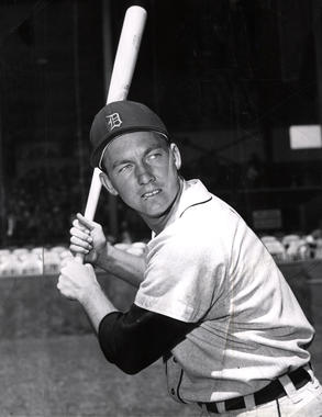 Al Kaline shows off his batting stance in 1956, three years after his big league debut. (National Baseball Hall of Fame and Museum)