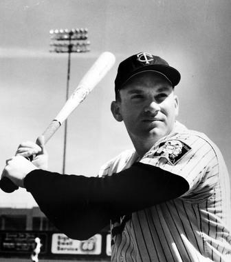 Harmon Killebrew poses with his bat, in 1966, when he was playing for the Minnesota Twins. (National Baseball Hall of Fame)