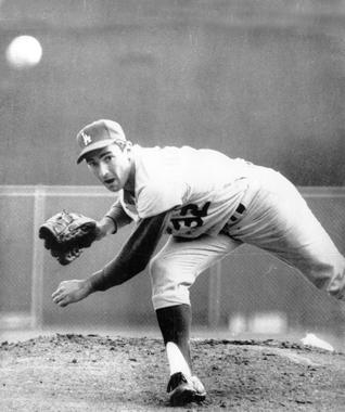 One of the most dominant left-handed pitchers of his time, Sandy Koufax captured the earned-run title five years in a row (1962-1966). (National Baseball Hall of Fame and Museum)