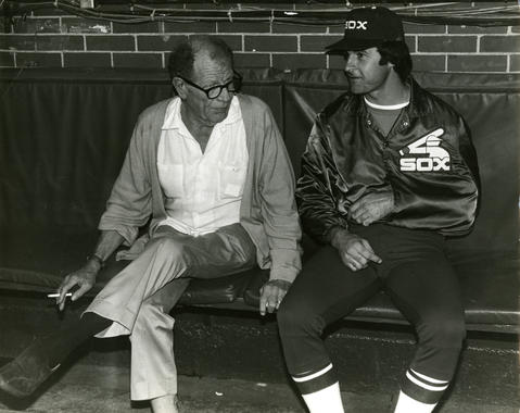 White Sox manager Tony La Russa chats with owner Bill Veeck in 1980, the day after La Russa injured his shoulder while breaking up a fight. (National Baseball Hall of Fame and Museum)