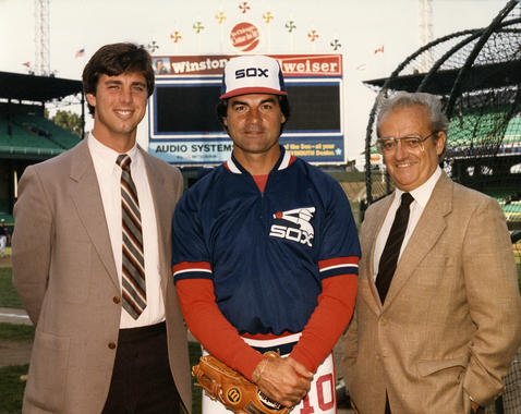 Tony La Russa poses with White Sox general manager Roland Hemond, right, and farm director Dave Dombrowski in the early 1980s at Comiskey Park. (National Baseball Hall of Fame and Museum)
