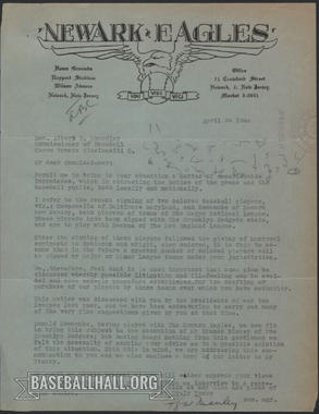 A letter that Effa Manley wrote to then-Commissioner Happy Chandler in April of 1946. (National Baseball Hall of Fame and Museum)