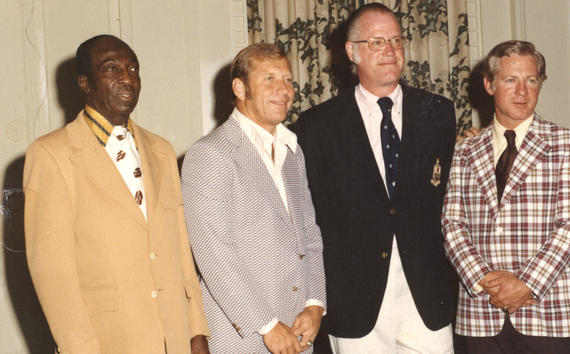 From left, Cool Papa Bell, Mickey Mantle, commissioner Bowie Kuhn and Whitey Ford pose for a photo at Hall of Fame Weekend 1974 in Cooperstown. (National Baseball Hall of Fame and Museum)
