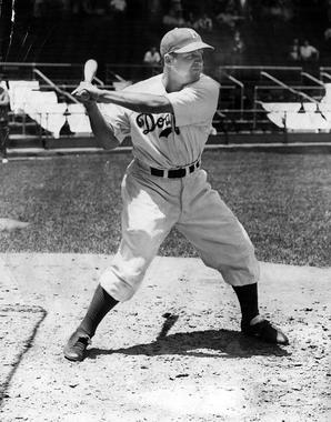 Joe Medwick (pictured above) and Pee Wee Reese were among the first players to sport protective headgear in 1941, with the advent of the Brooklyn Safety Cap. (National Baseball Hall of Fame and Museum)
