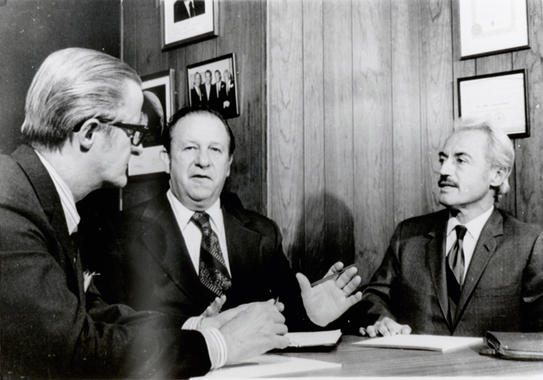 Marvin Miller (far right) and John Gaherin (far left) meet with federal mediator J. Curtis Counts in an attempt to settle the players' strike, April 10, 1972. (National Baseball Hall of Fame and Museum)