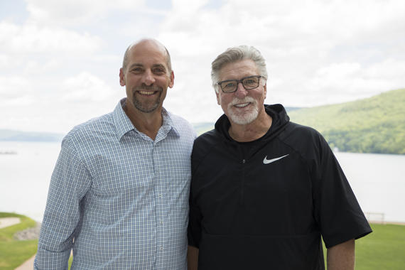 Class of 2018 electee Jack Morris, right, and Class of 2015 inductee John Smoltz share a moment Thursday at Hall of Fame Weekend in Cooperstown. (Milo Stewart Jr./National Baseball Hall of Fame and Museum)