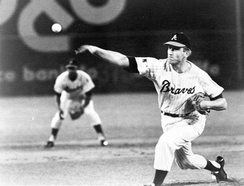 Phil Niekro of the Atlanta Braves pitching. BL-6545.89 (National Baseball Hall of Fame Library)