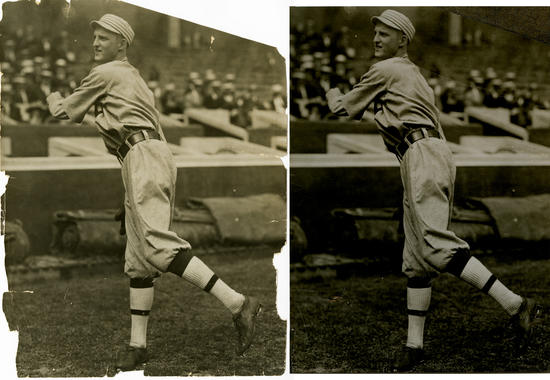 Before and After: A stabilized Charles Conlon photograph of Hall of Famer Herb Pennock. BL- 723-94 (Charles M. Conlon / National Baseball Hall of Fame Library)