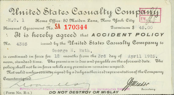 $45 premium notice from United States Casualty Company. (National Baseball Hall of Fame Library)