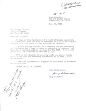A letter penned by an amateur player to MLB executive George Pfister in June 1991, in which he declares his intentions to enter the MLB Draft. (National Baseball Hall of Fame Library)