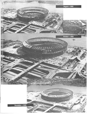 These time-lapse photographs, taken in 1969 and later published in the souvenir magazine for Riverfront Stadium's official opening, show that construction for the ballpark was well behind schedule just a few months before the Reds' 1970 home opener. (National Baseball Hall of Fame Library)