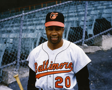 Frank Robinson spent six seasons with the Baltimore Orioles and would be inducted into the Hall of Fame in 1982 with an Orioles logo on his plaque cap. (Harold Kreissler/National Baseball Hall of Fame and Museum)