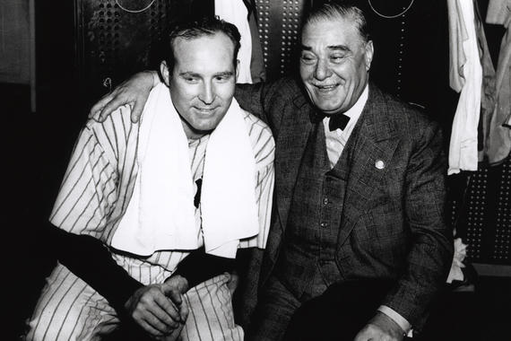 Yankees pitcher Red Ruffing and team owner Jacob Ruppert were a part of four World Series-winning teams in the 1930s. Ruffing's win in Game 4 of the 1938 World Series gave the Yankees their third straight World Series title. (National Baseball Hall of Fame and Museum)