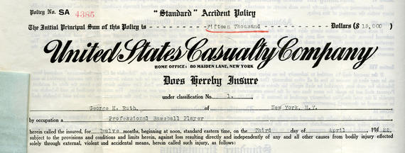Detail view of Babe Ruth's insurance policy. (National Baseball Hall of Fame Library)