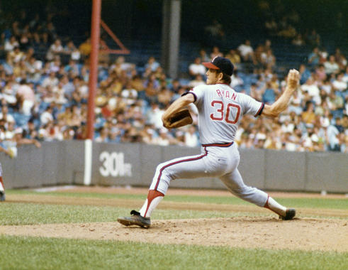 Hall of Fame pitcher Nolan Ryan throws for the California Angels in a game against the Kansas City Royals in 1972. He would record two no-hitters, including one in Kansas City, the following season. BL-196-2012 (National Baseball Hall of Fame Library)