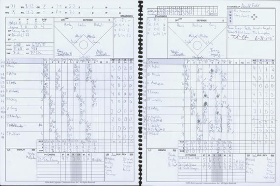 The official scorecard from a June 25 Pacific Association matchup between the Sonoma Stompers and Vallejo Admirals, in which pitcher Sean Conroy became the first openly gay player to participate in a professional baseball game, is now housed in the Hall of Fame archives. BL-417-2015-1 (National Baseball Hall of Fame Library)