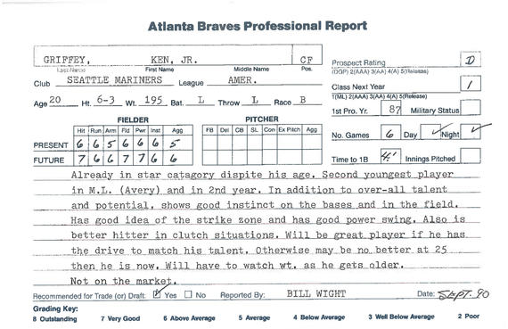 This 1990 Atlanta Braves report filed by scout Bill Wight states that Seattle Mariners outfielder Ken Griffey Jr.