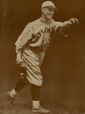 Two of George Sisler's five career wins as a pitcher came against Walter Johnson. (Charles Conlon/National Baseball Hall of Fame and Museum)
