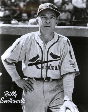 Billy Southworth managed the Cardinals' dynasty teams of the early 1940s, leading St. Louis to World Series titles in 1942 and 1944. (National Baseball Hall of Fame and Museum)