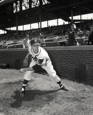 Posed photograph of Milwaukee Braves Warren Spahn pitching, circa 1954. BL-2870.70 (National Baseball Hall of Fame Library)