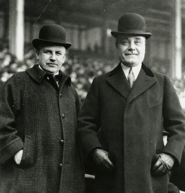 Through a partnership with Yankees owner Jacob Ruppert, Harry M. Stevens (left) built a concessions business that endured for decades. (National Baseball Hall of Fame and Museum)