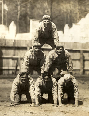 A member of the Brooklyn Dodgers for 18 years, Zack Wheat (middle row, right) was a team leader within the organization. He was named team captain in 1919. (National Baseball Hall of Fame)