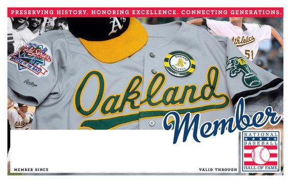 Oakland Athletics Hall of Fame Membership program card