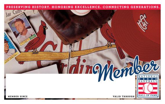 St. Louis Cardinals Hall of Fame Membership program card