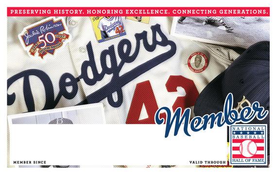 Los Angeles Dodgers Hall of Fame Membership program card