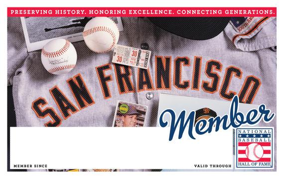 San Francisco Giants Hall of Fame Membership program card