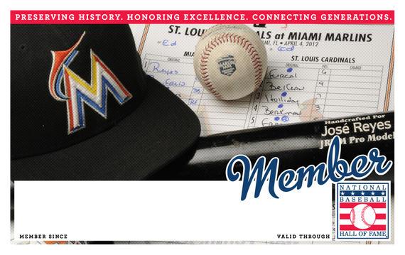 Miami Marlins Hall of Fame Membership program card