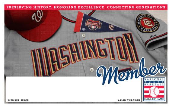 Washington Nationals Hall of Fame Membership program card