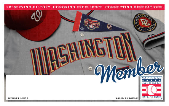 Washington Nationals Hall of Fame Membership program card