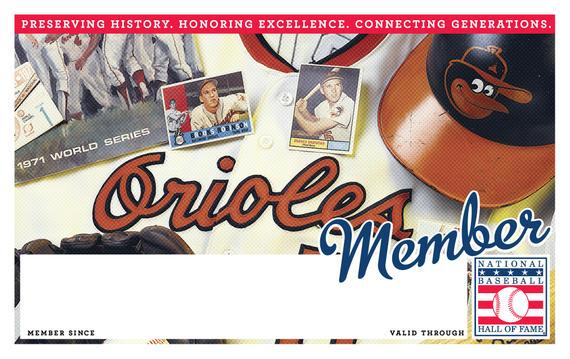 Baltimore Orioles Hall of Fame Membership program card