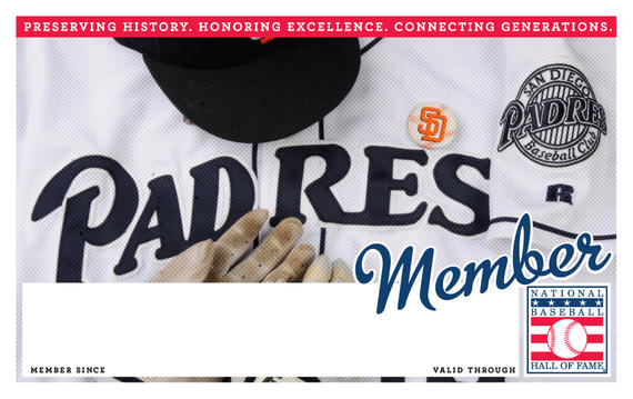 San Diego Padres Hall of Fame Membership program card