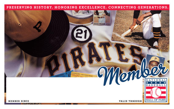 Pittsburgh Pirates Hall of Fame Membership program card