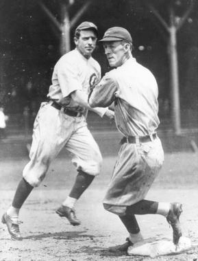 Cubs shortstop Joe TInker, left, and second baseman Johnny Evers combined to form one of the most effective middle-infielder combinations of the earliest years of the 20th century. (National Baseball Hall of Fame and Museum)