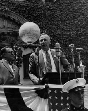 Pie Traynor addresses the crowd in front of the Museum during his Hall of Fame Induction Speech on July 12, 1948. At left is future Hall of Famer Branch Rickey. (National Baseball Hall of Fame and Museum)