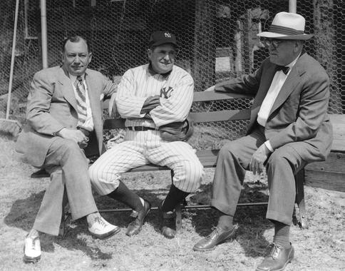 George Weiss (left) chats with Yankees manager Joe McCarthy and general manager Ed Barrow in this undated photo. All three would eventually earn election to the Hall of Fame. (National Baseball Hall of Fame and Museum)