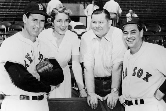 Ted Williams, shown with (from left) Jean Yawkey, Tom Yawkey and Lou Boudreau, won the American League Triple Crown in both 1942 and 1947 but did not with the American League MVP in either season. (National Baseball Hall of Fame and Museum)