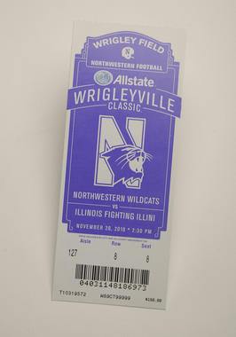 This ticket from a college football game between Northwestern and Illinois played on Nov. 20, 2010 at Wrigley Field is part of the Museum's permanent collection. (Milo Stewart, Jr. / National Baseball Hall of Fame)