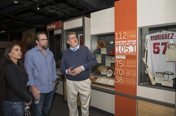 Jeff Bagwell and his wife Rachel take a tour of the Museum during their Hall of Fame Orientation Tour with Erik Strohl, the Museum's vice president of exhibitions and collections. (Milo Stewart Jr. / National Baseball Hall of Fame and Museum)