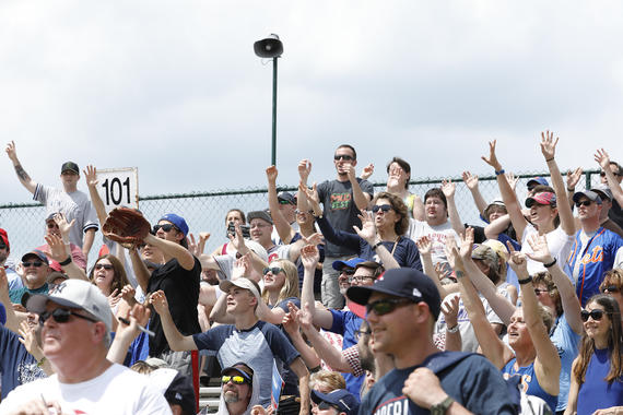 Fans call out for a foul ball at the 2018 Hall of Fame Classic. (National Baseball Hall of Fame and Museum)