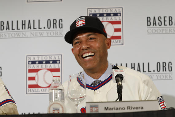 Mariano Rivera, the first player to be elected to the Hall of Fame with 100 percent of the votes, at the press conference in New York City. (Milo Stewart Jr./National Baseball Hall of Fame and Museum)