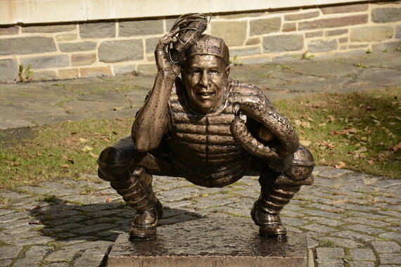 This bronze statue of Roy Campanella depicts the Hall of Famer during the 1955 World Series. (Milo Stewart Jr./National Baseball Hall of Fame and Museum)