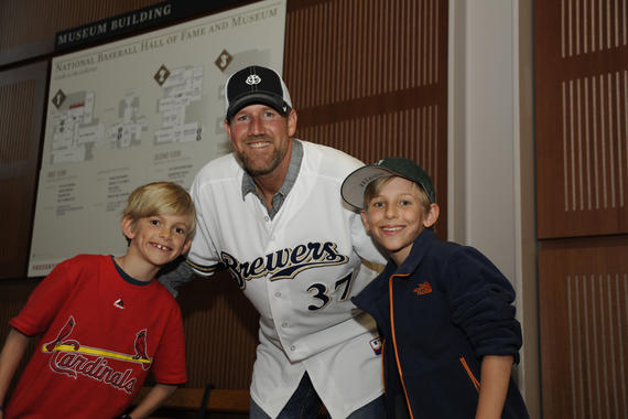 Young baseball fans meet former Milwaukee Brewers pitcher Steve Woodard during 'A Night at the Museum' at the 2015 Hall of Fame Classic Weekend. (Milo Stewart, Jr. / National Baseball Hall of Fame)