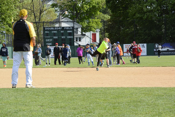 Former Pirates shortstop Jack Wilson runs an infield drill at the Cooperstown Classic Clinic May 22. (Milo Stewart, Jr. / National Baseball Hall of Fame)
